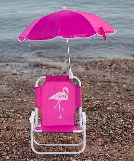 pink beach chair non slip cushions for chairs lollipop kids shoppe hot flamingo personalized kid s umbrella