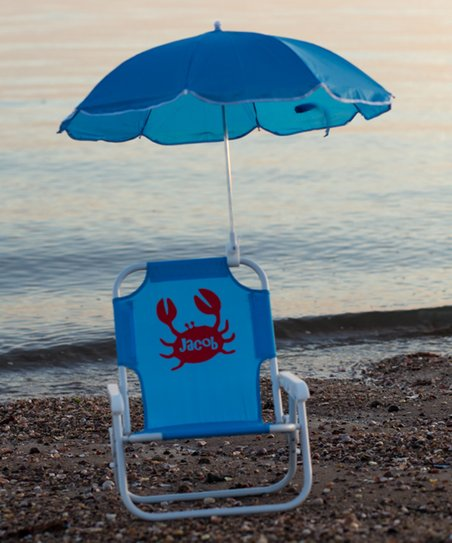kids beach chair with adjustable umbrella small patio chairs lollipop shoppe blue crab personalized kid s