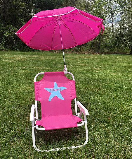 kids beach chair with adjustable umbrella french bistro style dining chairs lollipop shoppe hot pink starfish personalized