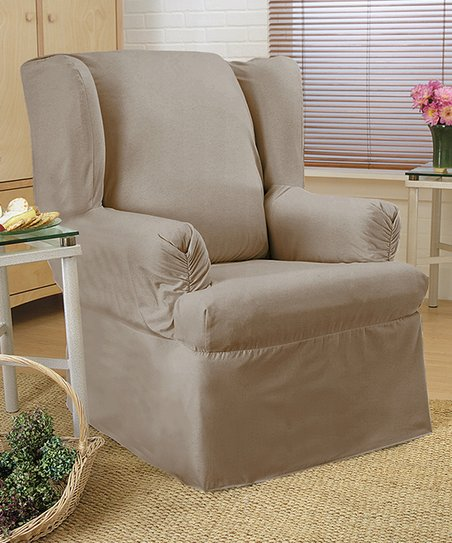 sure fit wing chair slipcover circle couch caber surefit linen duck relaxed zulily