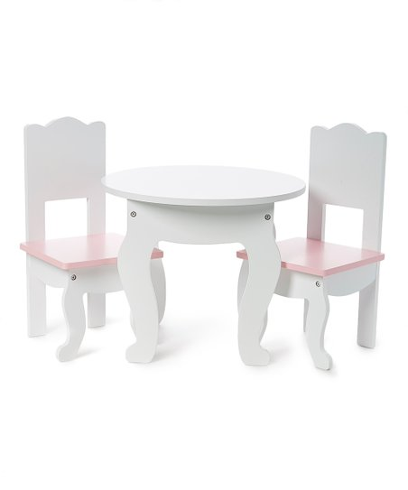 18 doll table and chairs purple velvet high back chair sophias solid white pink for zulily love this product