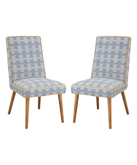 yellow upholstered dining chairs design within reach chair foxhill trading company blue set of two