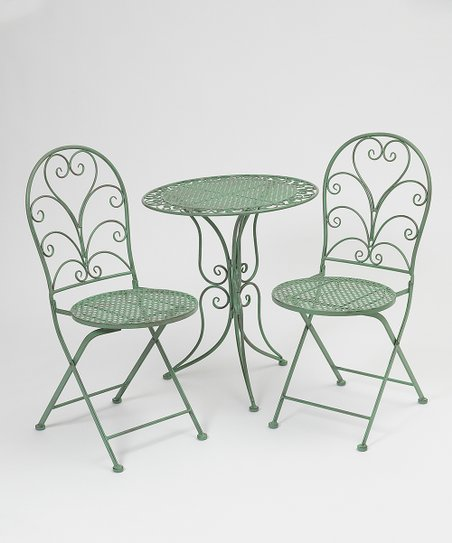 green metal bistro chairs square chair leg sleeves the gerson company three piece antique folding love this product set