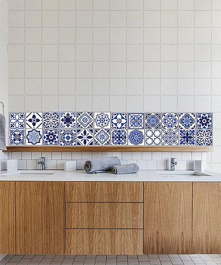 walplus 4 blue spanish tile 24 pc wall decal set