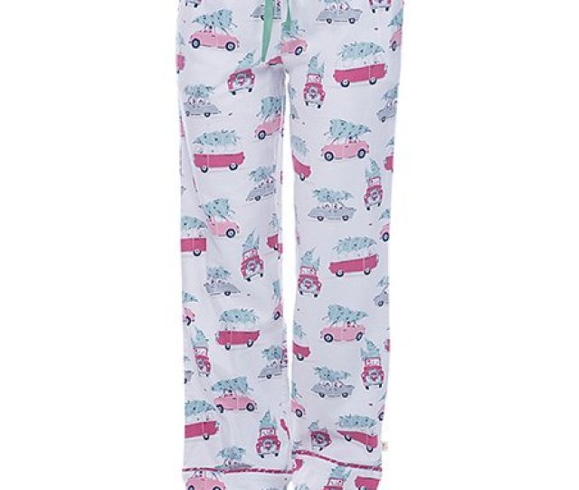 White Christmas Tree Car Flannel Pajama Pants Women