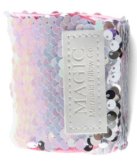 mermaid pillow co iridescent silver magic reversible sequins bracelet