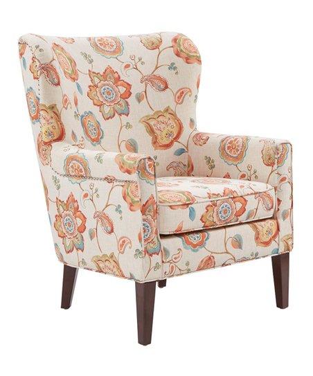 floral arm chair workout ball main green cream orange zulily