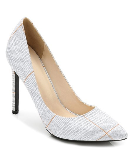 phébé silver plaid stiletto