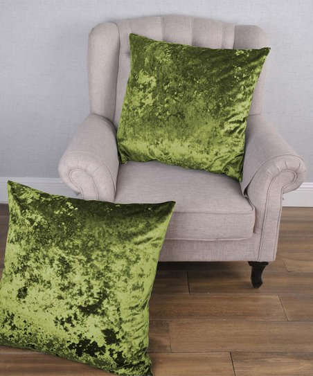 bnf home inc avocado green crushed velvet throw pillow cover set of two