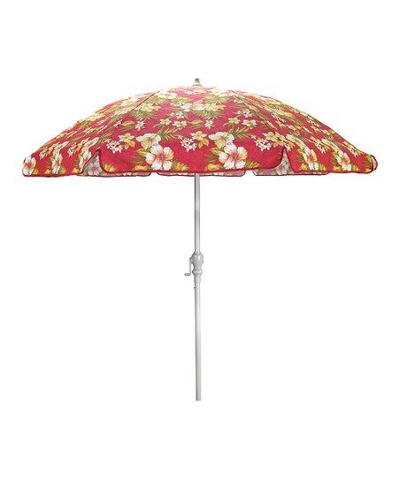 jordan manufacturing red floral 7 5 aluminum round umbrella