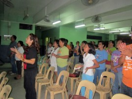 Part of the assembly at worship time