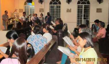 Bro. Fred Saygo practiced songs with the music ministry of Bro Junboy Bangcaya.