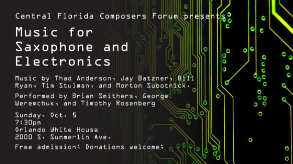 Music for Saxophone and Electronics flyer