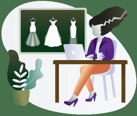 Bride of Frankenstein Working On Laptop with Wedding Dresses Behind Her