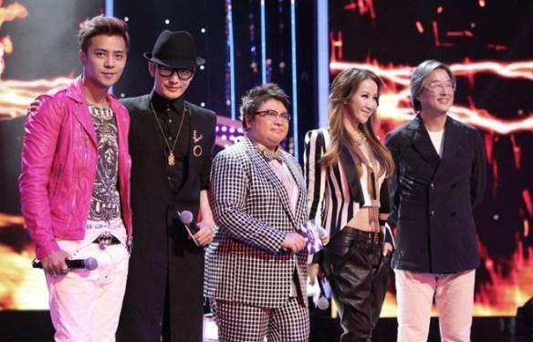 Left-to-right: Show Luo (host), Huang Xiaoming, Han Hong, Coco Lee, Wang Wei-chung