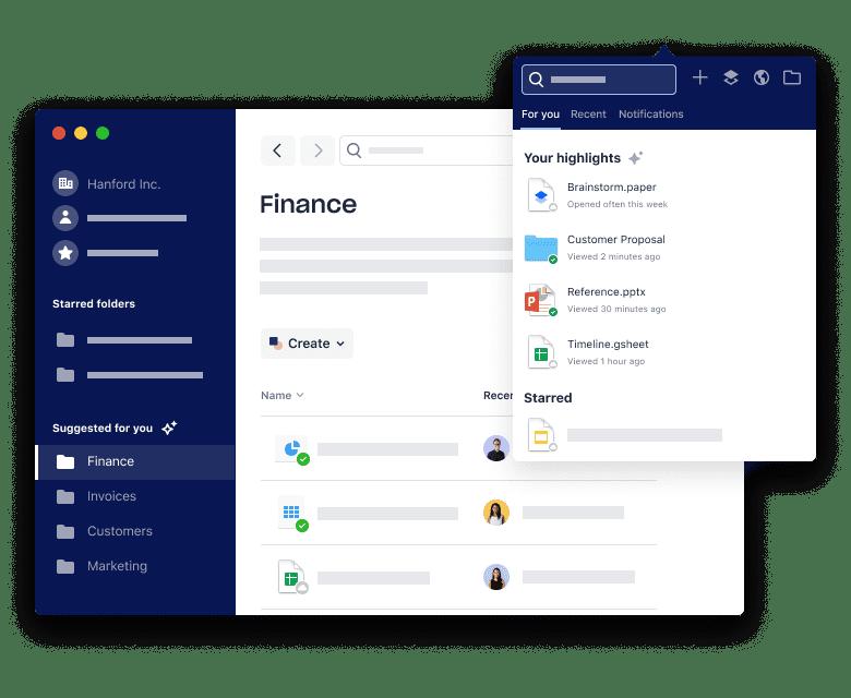 Dropbox fichiers partage