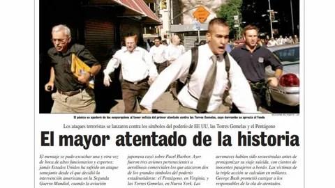 Uno de los titulares de La Voz de Galicia en el despliegue que este periódico realizó el 12 de septiembre del 2001