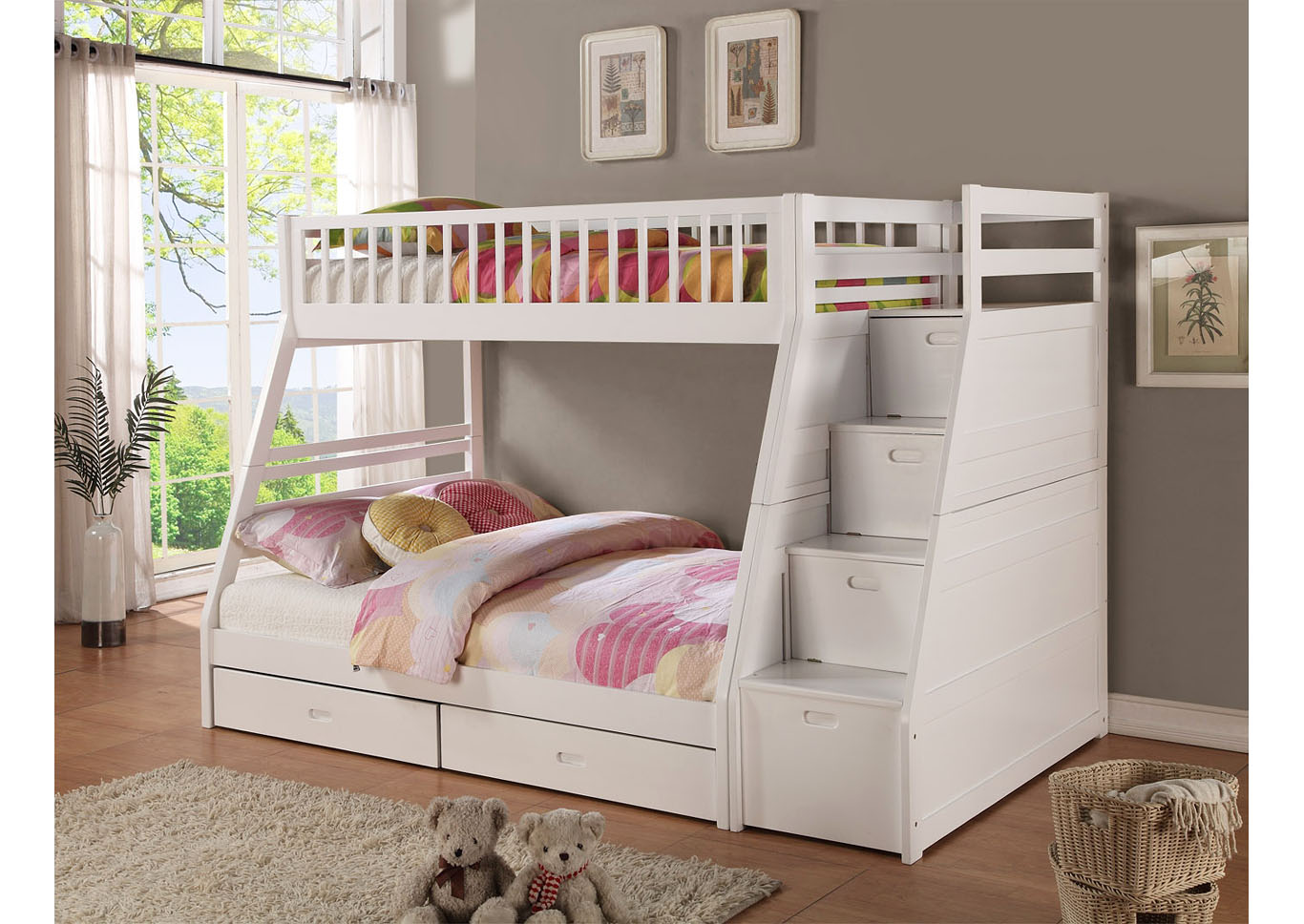 Dakota Twin Full Angled Bunk Bed With Storage Staircase And Under Drawers White Nader S Furniture