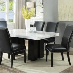 Cam White Marble Dining Room Set With 6 Black Chairs Nader S Furniture