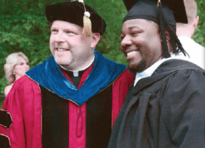 Ishmael Solomon (right) received a scholarship from the Elsie E. and Joseph W. Beck Memorial Scholarship Fund that allowed him to attend Saint Vincent College. Ishmael overcame serious health and financial hurdles to graduate with a degree in Sociology in May 2015.