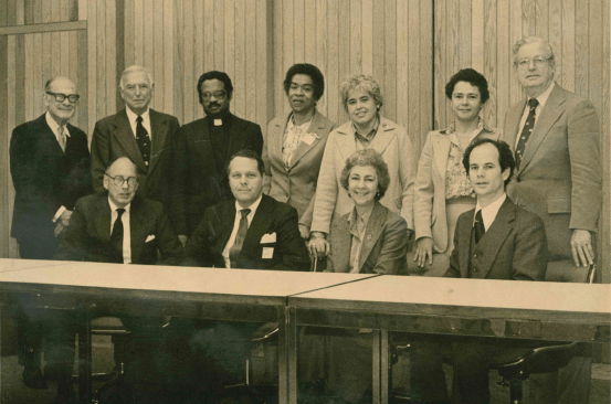 Members of the Greater Essex Community Foundation Board of Trustees. Standing, left to right: Alfred Clapp, Harold Helm, Dillard Robinson, Gladys Taylor, Hilda Hildago, Tilly-Jo Emerson, and William Page. Seated, left to right: S. Jervis Brinton, Robert O'Brien, Joan Bate, and Robert Corman.