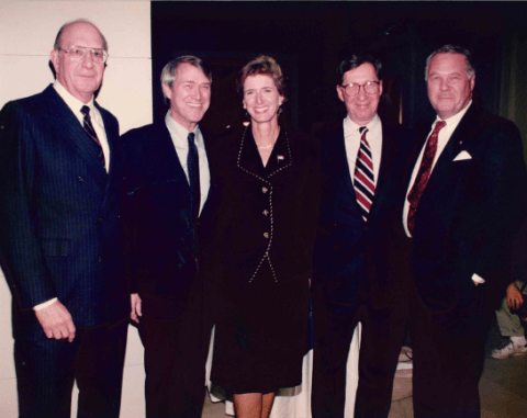 Members of the Community Foundation Board (left to right): Bernie Berkowitz, John Kidde, Christine Todd Whitman, Ted Boyer, and Bob O'Brien.