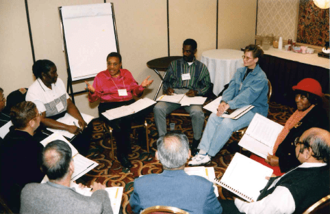 A group session at a POPS event in Jersey City.