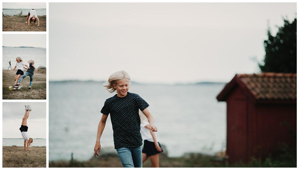 porträttfotograf Kungsbacka Göteborg action stå på händer portrait photographer family photoshoot