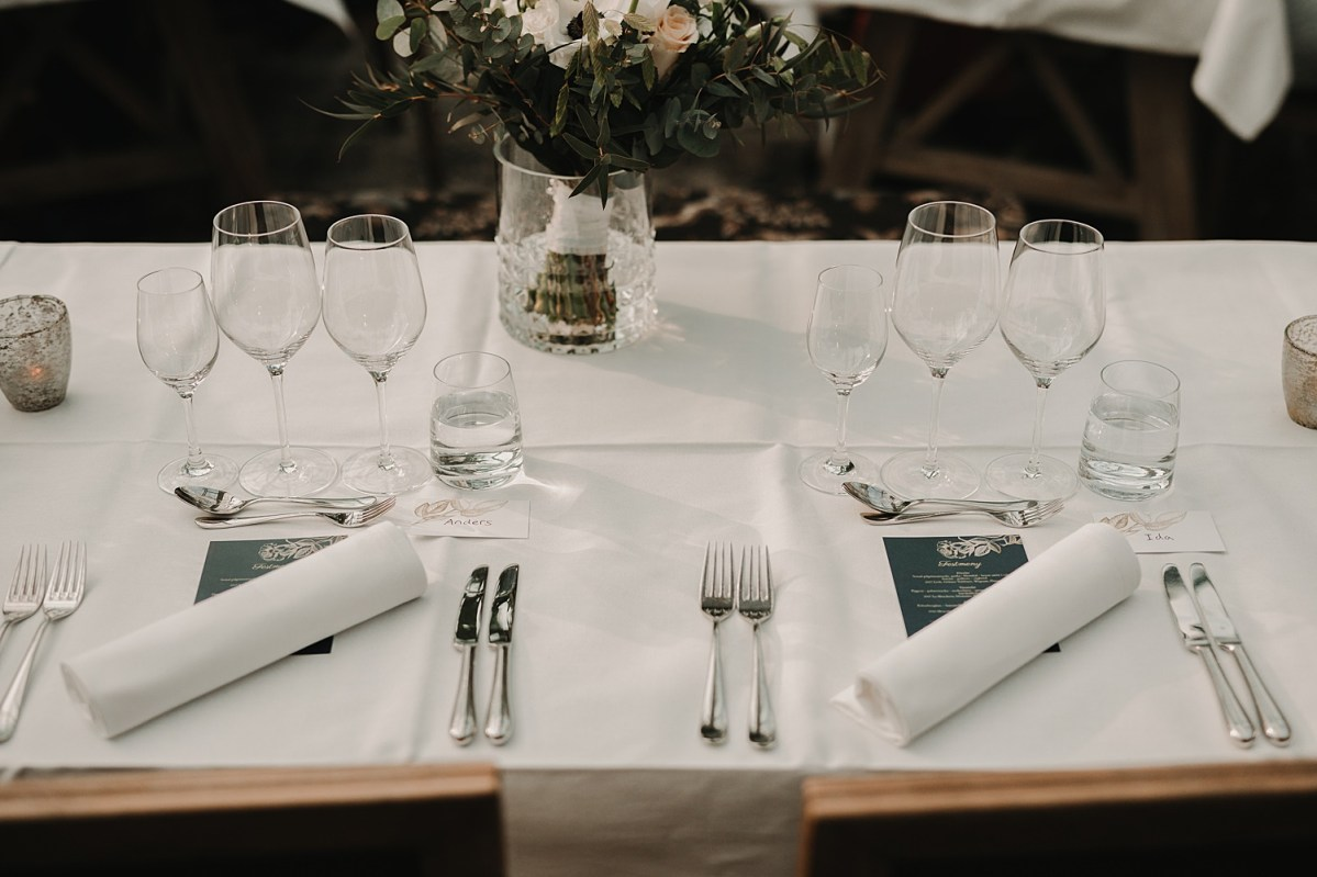 Dukning Norrviken table setting wedding photographer