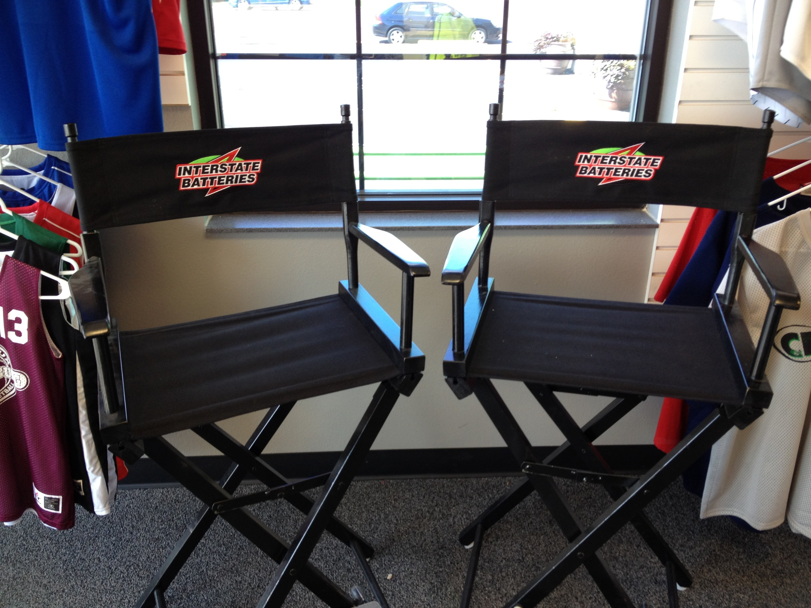 customized directors chair safavieh dining chairs cfpromo delivers custom for interstate batteries