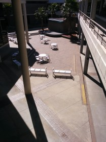 Here's a view from the second level, overlooking the seating area outside the cafeteria.