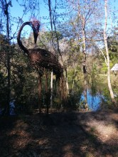 Ostrich? Flamingo? It's a whimsical bird statue made of twisted twigs at the Jacksonville Arboretum & Gardens in Arlington.