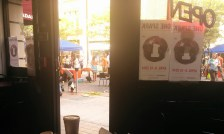 A view of OneSpark action from inside the Adams Street Deli.