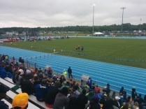 Here's a look at the infield of a very wet Hodges Stadium during an intermission before the start of the 100-meter hurdles.