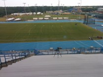 A shot of an empty Hodges Stadium during a lightning delay.