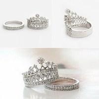 Women's Fashion Queen Crown Pattern Ring Set Rhinestone ...