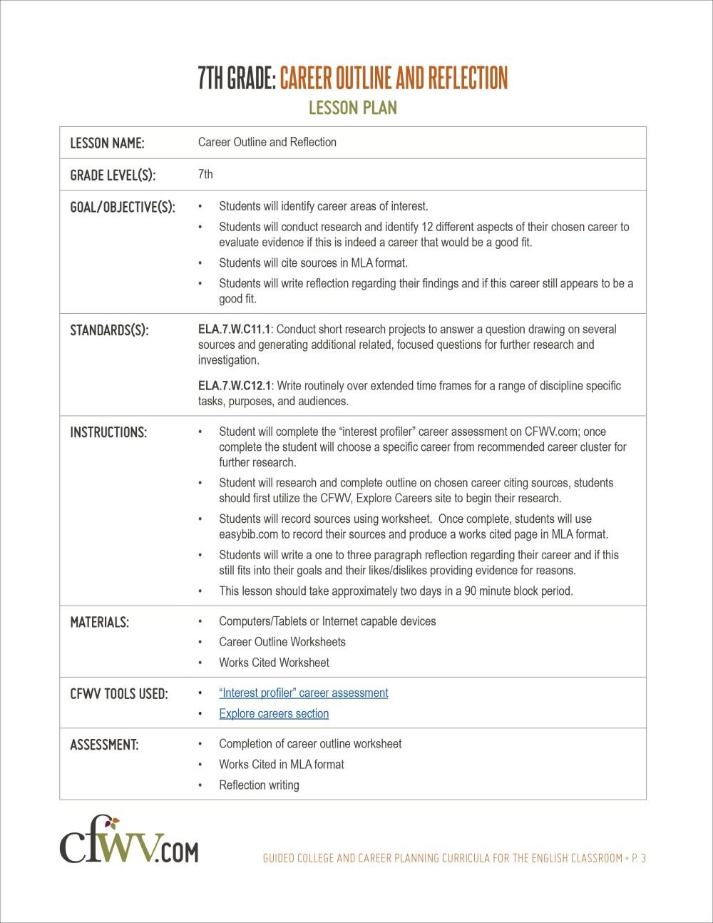 medium resolution of College and Career Planning English Curriculum Toolkit   CFWV Resources
