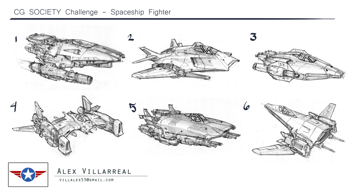 Spaceship fighter concepts for Thrust Challenge by Alex53