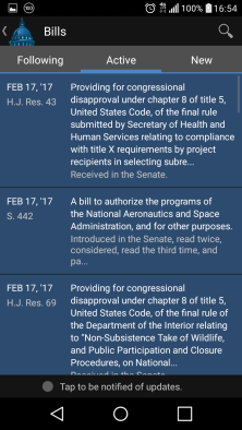A list of active bills