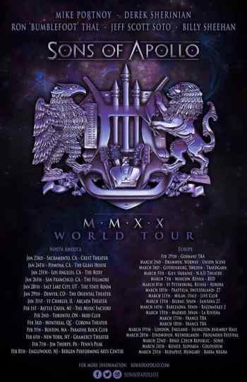 Sons Of Apollo 2020 World Tour: Dates