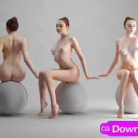 Download Naked Girl Sitting Scanned 3D Model Free