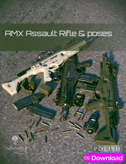 Download Daz3D – AMX Assault Rifle and Poses Free