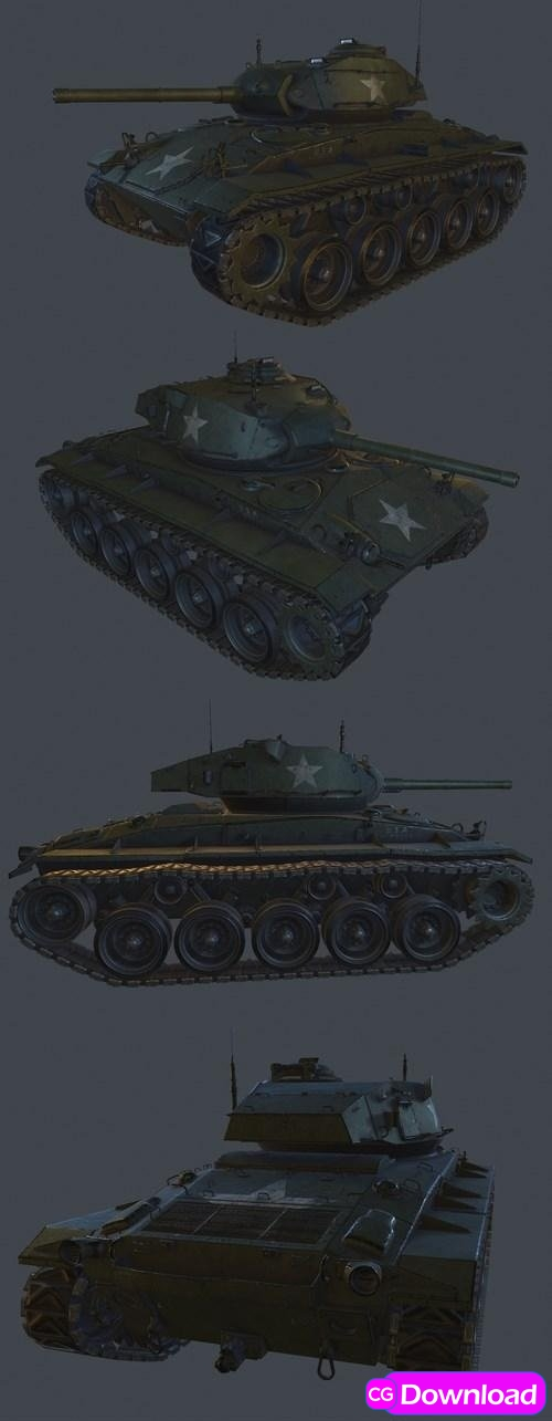 Download M24 Chaffe Light Tank 3D Model Free