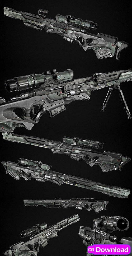 Download SciFi Sniper Rifle Concept – 3D Model Free
