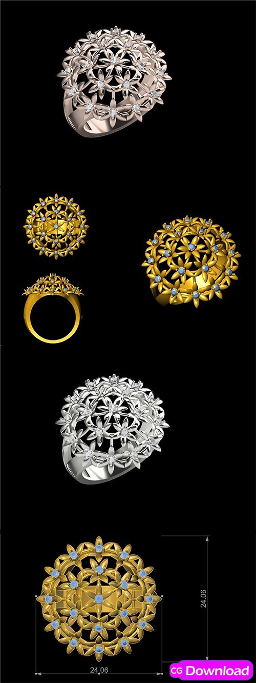 Download Cgtrader – STUNNING FLOWER RING FOR LADIES SBR 1 3D print model Free