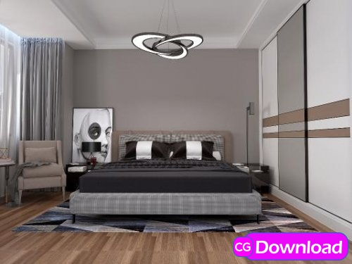Download  Modern master bedroom 03 3d model Free