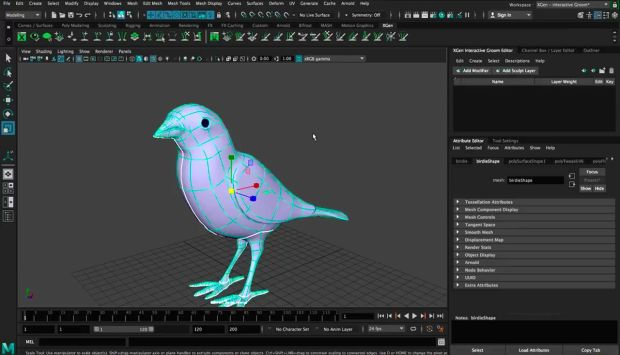 Create Xgen feathers on a Bird in Maya 2018