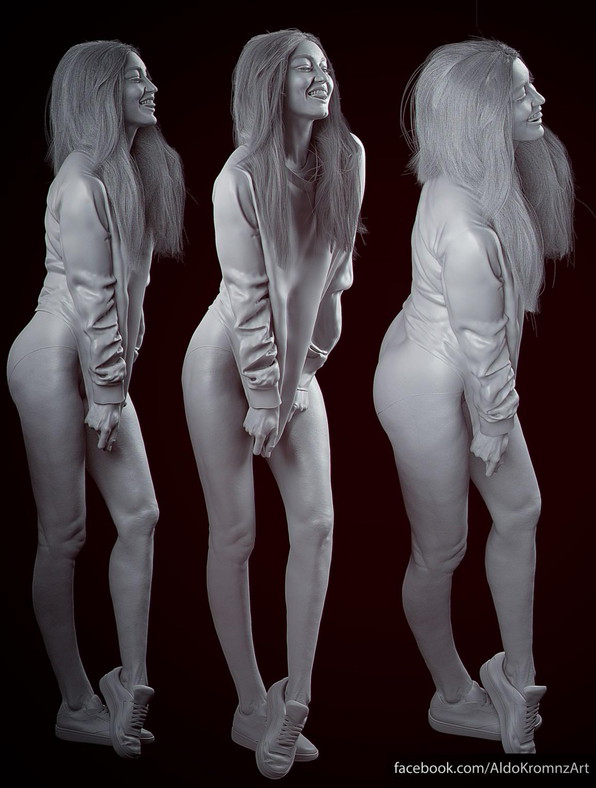 GigiHadid 3D Portrait by Aldo Martinez