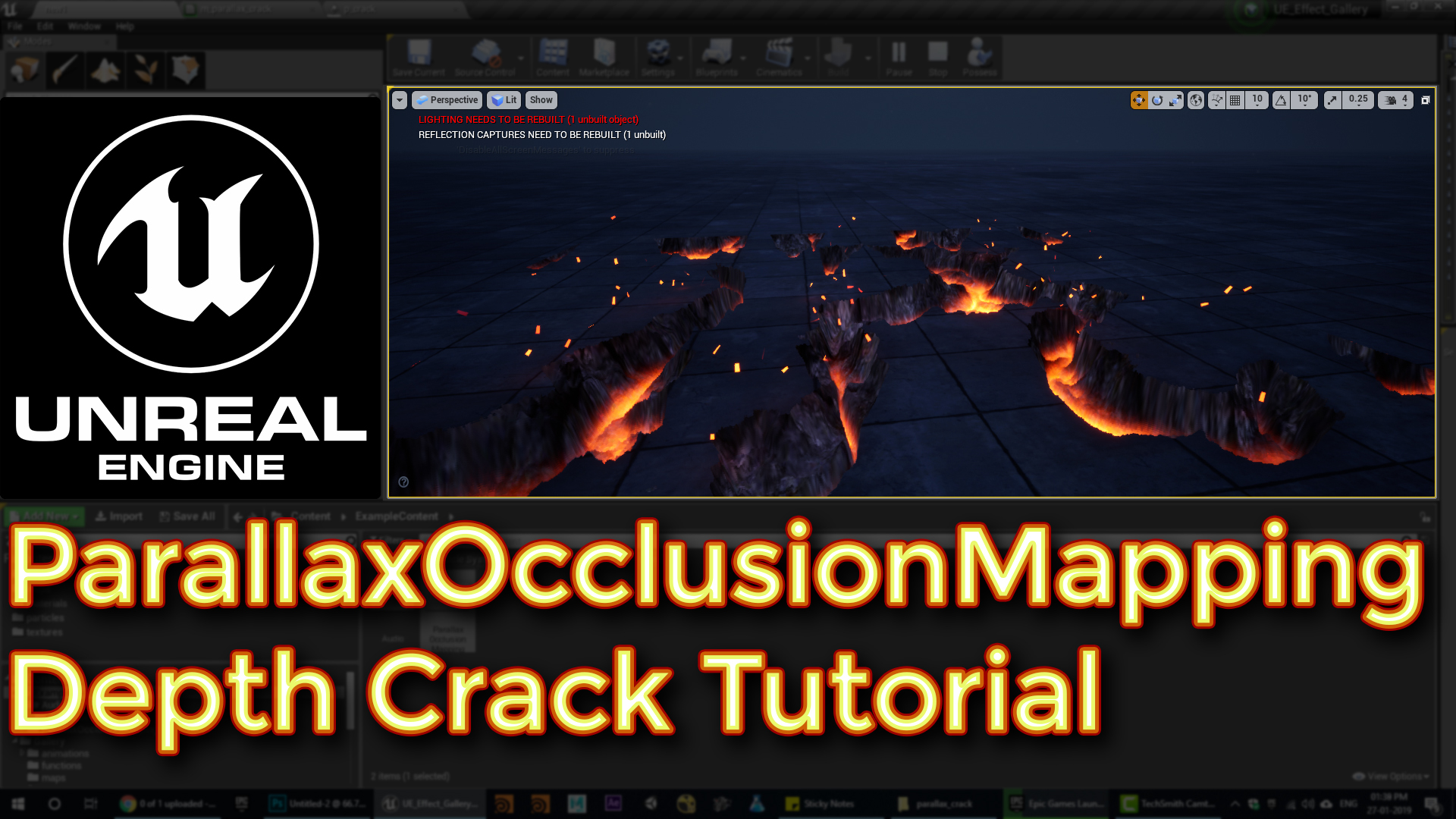 Unreal engine ParallaxOcclusionMapping Depth Crack Tutorial