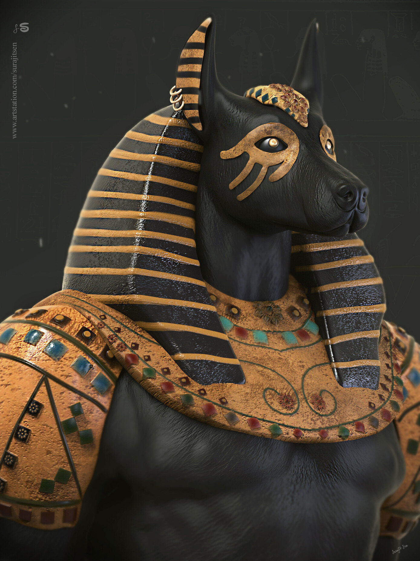 """Anubis_The God_of the death"""" CG Science Fiction Character by Surajit"""